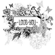 Stock Illustration of Vintage Monochrome Floral Greeting Card with Birds and Butterflies