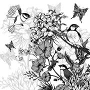 Vintage Monochrome Floral Greeting Card with Birds and Butterflies - stock illustration