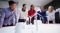4K Group of architects or engineers working on renewable energy development Stock Footage