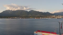 Burrard Inlet and North Shore mountains from Canada Place. Stock Footage