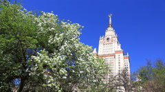 Big blossoming apple-tree near Moscow State University in sunny spring day Stock Footage