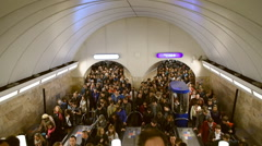 Stock Video Footage of Crowd in St. Petersburg subway in Victory Day