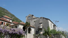 Pan from old houses in Perast Montenegro Stock Footage