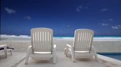 Caribbean beach with sun beds Stock Footage