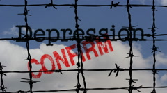 Depression confirm barbwire - stock footage