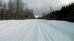 Fresh Snow Rural Two Lane Road Winter Landscape Stock Footage