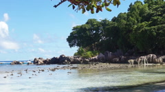 Anse severe beach on praslin seychelles Stock Footage