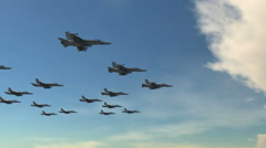 F-18 Fighter Jet Squadron Flying Attack Formation Stock Footage