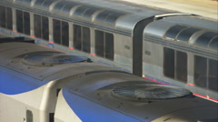 Amtrak passenger train, carriage air conditioning fans (mute) Stock Footage