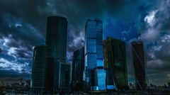 7 in 1 video! The empty skyscrapers at night: apocalyptic-style video Stock Footage