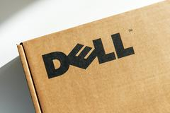 Dell Computers logo on a cardboard computer box Stock Photos