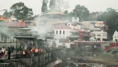 Hinduism followers are cremated at Pashupatinath Temple, Kathmandu, Nepal Stock Footage