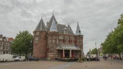 Amsterdam Restaurant Café in de Waag, Hyperlapse - Motion Timelapse Stock Footage