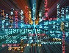 Gangrene multilanguage wordcloud background concept glowing - stock illustration