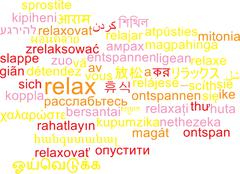 Relax multilanguage wordcloud background concept Stock Illustration