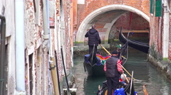 4K timelapse gondola traffic jam line at narrow channel Stock Footage