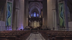 Stock Video Footage of Washington DC National Cathedral isle to altar 4K 017