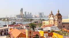 Timelapse view over Cartagena historical district and bocagrande by night Stock Footage