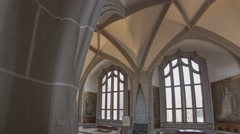The Albrechtsburg Meissen Cell Vault Hall With Large Arched Windows Stock Footage