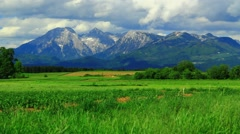 Pastures and mountains - stock footage