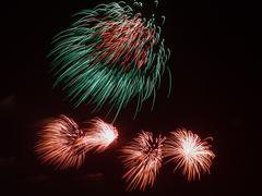 Bi-color fireworks Stock Photos