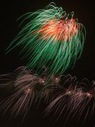 Tricolor bright fireworks Stock Photos