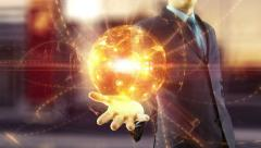Businessman holds over hand global digital network and internet concept Arkistovideo