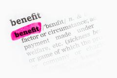 Benefit  Dictionary Definition Stock Photos
