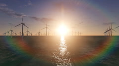 Wind turbines in the water park Stock Footage