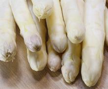 luscious mature white asparagus for sale - stock photo