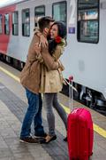 arrival by train - stock photo