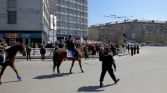 Police on horses in May Day demonstration. Stock Footage