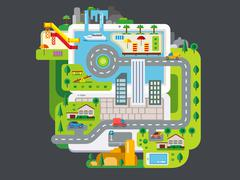 City Built Around Laptop Stock Illustration
