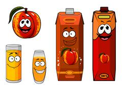 Stock Illustration of Apricot fruit and juice characters