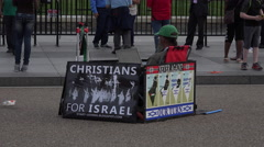 Washington DC White House tourists Israel demonstrator 4K 069 - stock footage