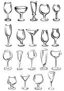 Doodle glassware and dishware sketches set Stock Illustration