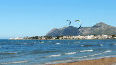 Kite Surfers In Pollenca Bay, Mallorca Island - stock footage