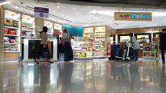 duty free zone in Bkk airport Suvarnabumi - stock footage