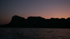 panorama of mountains from sea at sunrise - stock footage