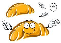Stock Illustration of Happy freshly baked cartoon croissant charactr