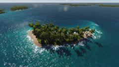 Palm trees on the island in the ocean. - stock footage