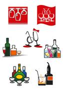 Stock Illustration of Glasses and alcohol icons or symbols