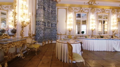 Gorgeous rooms and interiors of the Catherine Palace in St. Petersburg. Stock Footage