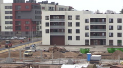 New flat house and worker with helmet clean window Stock Footage