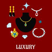 Luxury concept displaying expensive jewelry Stock Illustration