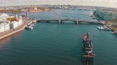 Aerial View Warship Moored in Centre Sankt-Petersburg Stock Footage