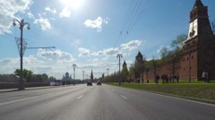 Cityscape, POV, driving in Moscow ,Time-lapse in motion, hyperlapse. Stock Footage