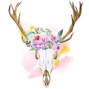 Watercolor deer head with wildflowers - stock illustration