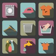 laundry flat icon - stock illustration