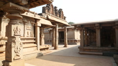 View of the beautiful temple in Hampi. Stock Footage